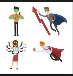 superhero business man woman vector image vector image