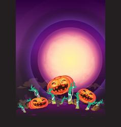 at night halloween pumpkin and zombies hands wave vector image