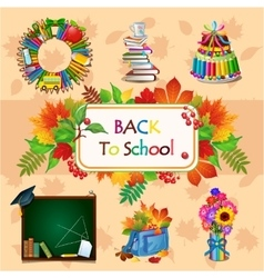 Colorful image with different school objects vector image