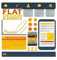 Flat design elements web buttons and icons vector image vector image