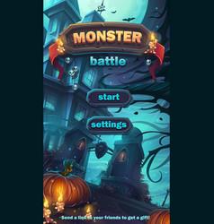 monster battle gui start playing field vector image