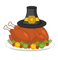 roast turkey for thanksgiving and pilgrim hat vector image