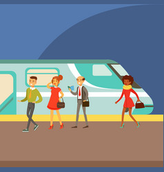 passengers boarding a train at the platform part vector image