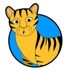 striped wild tiger sticker icon cartoon vector image vector image