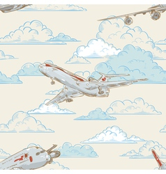 Airplanes on cloudy backgorund card vector image vector image