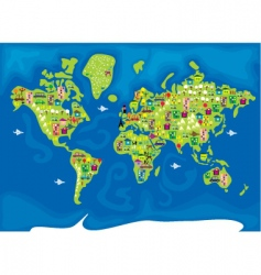 cartoon map of the world vector image