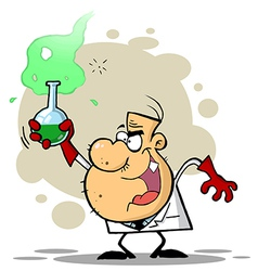 Crazy Scientist Holds Bubbling Beaker Of Chemicals vector image vector image