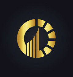 round arrow business gold logo vector image vector image