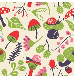 seamless pattern with mushroom ladybird snail flow vector image vector image