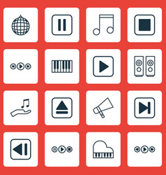 set of 16 audio icons includes note skip song vector image