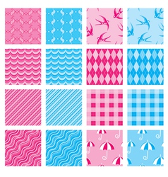 Set of fabric textures in pink and blue colors - s vector image vector image