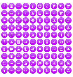 100 water icons set purple vector image