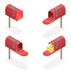 3d isometric flat set mailboxes vector image