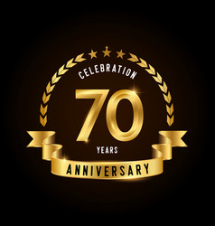 70 years anniversary celebration logotype golden vector