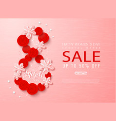 8 march - happy women s day sale banner beautiful vector image