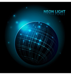 Abstract neon planet vector image