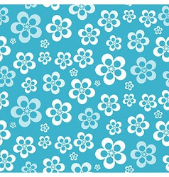 Abstract Retro Seamless Blue Flower Pattern vector image