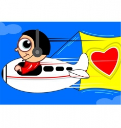 aero plane with love vector image