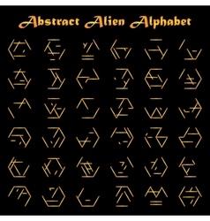 Alien golden alphabet vector