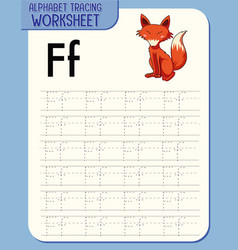 alphabet tracing worksheet with letter f and f vector image