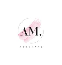 Am watercolor letter logo design with circular vector