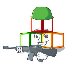 Army bright toy block bricks on cartoon vector