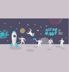 astronaut characters poster with stars and rocket vector image