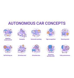 autonomous car concept icons set car robotic vector image