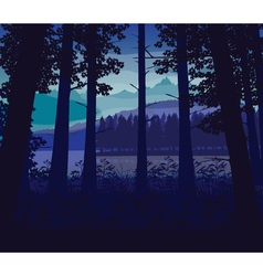Background landscape with river deep forest and vector