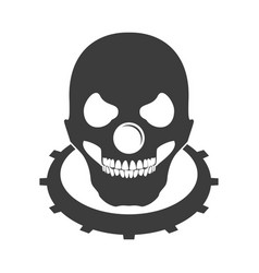 Bald skull clown head logo emblem symbol vector