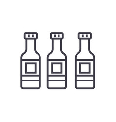 beer bottle line icon sign vector image vector image