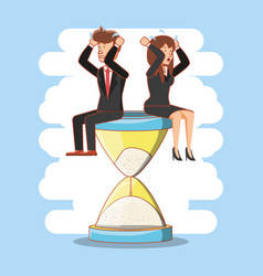 Businesspeople avatars with work time elements vector