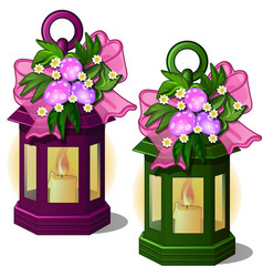 Candles decorated flowers and easter eggs vector