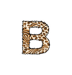 Capital letter b with wild leopard skin pri vector