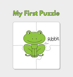cartoon frog puzzle template for children vector image
