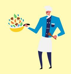 Cheerful cook preparing vegetables in a pan vector