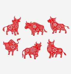 Chinese new year zodiac bull animal silhouettes vector