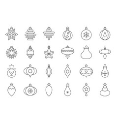 christmas ball ornaments icon set 1 outline vector image