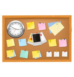 clock office supplies on brown desk horiz vector image
