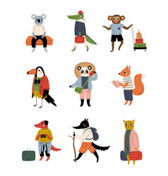 Collection animals tourists with luggage funny vector