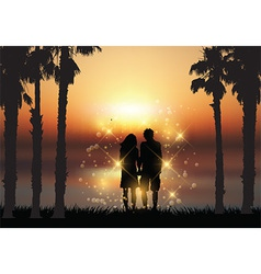 Couple holding hands against a sunset background vector image