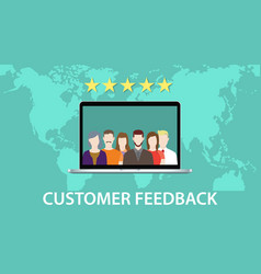 customer feedback concept with star rating and vector image