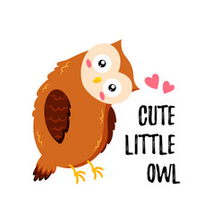 cute cartoon owl in love template for postcard vector image