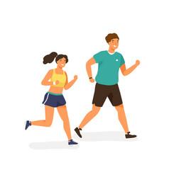 Cute jogging couple dressed in sportswear happy vector