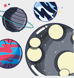 Differents planets near to the moon in the galaxy vector