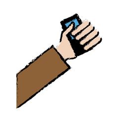 Drawing hand holding credit card bank vector