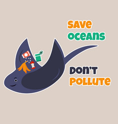 Eco poster stop pollution with skate vector