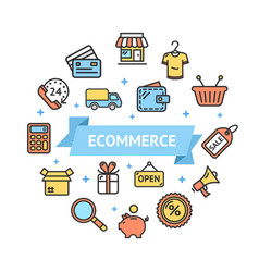 ecommerce icon round design template thin line vector image vector image