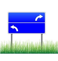 Empty signpost with arrows grass below vector