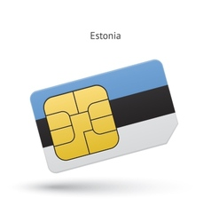 Estonia mobile phone sim card with flag vector